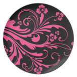 Hot Pink and Black Floral Chic Wedding Party Plates