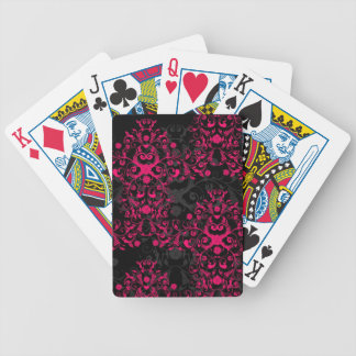 Hot Pink and Black Floral Damask Bicycle Playing Cards