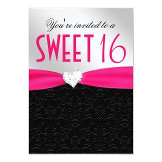 Hot Pink and Black Floral Damask Diamond Heart Card