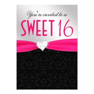 Hot Pink and Black Floral Damask Diamond Heart Personalized Invitations