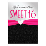 Hot Pink and Black Floral Damask Diamond Heart 5x7 Paper Invitation Card