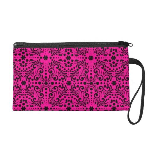 Hot Pink and Black Floral Pattern Wristlet