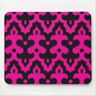 Hot Pink and Black Frieze Mouse Pad