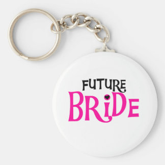 Hot Pink and Black Future Bride Basic Round Button Keychain