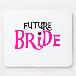 Hot Pink and Black Future Bride Mouse Pad