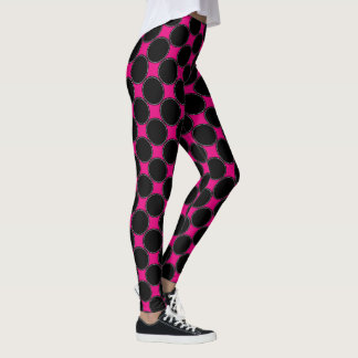 Hot Pink and Black | Girly Geometric Dots Pattern Leggings