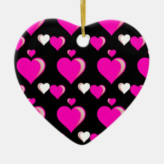 Hot Pink and Black Hearts Valentine's Day Love Pat Ceramic Ornament