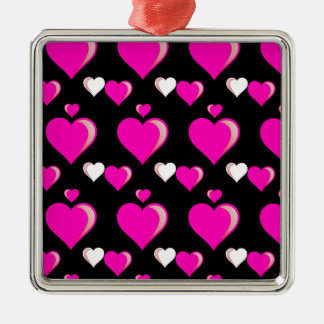 Hot Pink and Black Hearts Valentine's Day Love Pat Metal Ornament