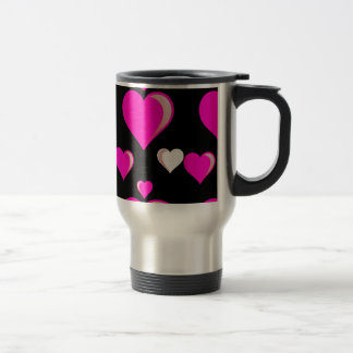 Hot Pink and Black Hearts Valentine's Day Love Pat Travel Mug
