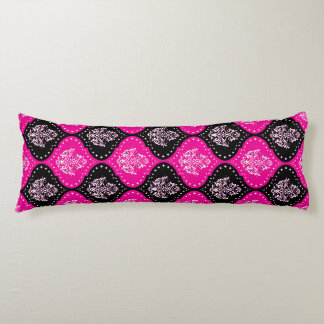 hot pink and black henna damask pattern body pillow