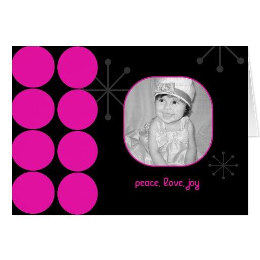 Hot Pink and Black Holiday Photo Card