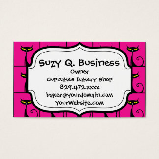 Hot Pink and Black Kitty Cats Collage Business Card