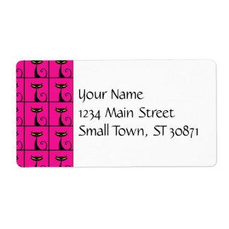 Hot Pink and Black Kitty Cats Collage Shipping Label