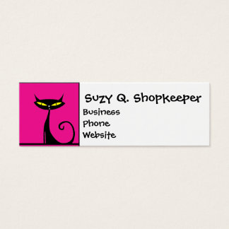 Hot Pink and Black Kitty Cats Collage Mini Business Card