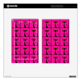 Hot Pink and Black Kitty Cats Collage Skin For Kindle Fire