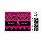 Hot Pink and Black Lace Damask Monogram Wedding Stamps