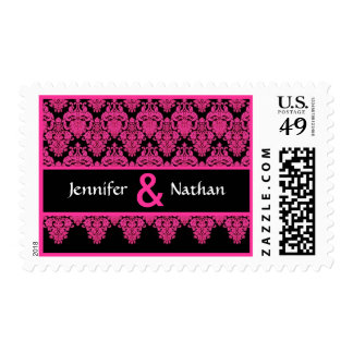 Hot Pink and Black Lace Damask Monogram Wedding Stamps