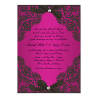 Hot Pink and Black Lace wedding invitation