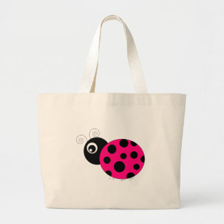 Hot Pink and Black Ladybug Canvas Bags