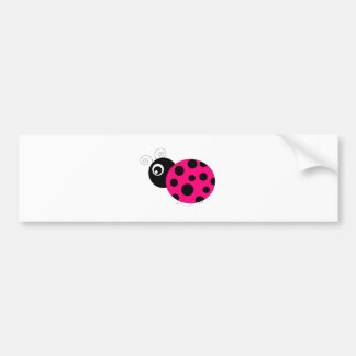 Hot Pink and Black Ladybug Car Bumper Sticker