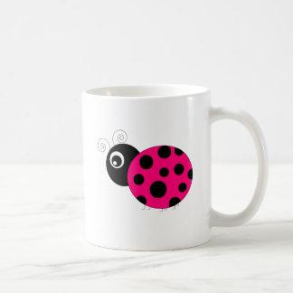 Hot Pink and Black Ladybug Coffee Mug