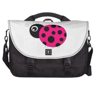 Hot Pink and Black Ladybug Laptop Bag