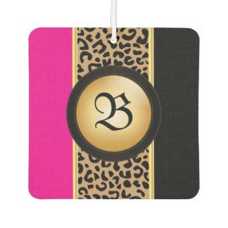 Hot Pink and Black Leopard Animal Print | Monogram Air Freshener