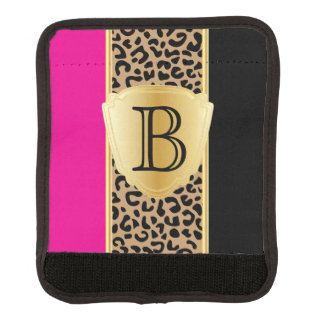 Hot Pink and Black Leopard Animal Print | Monogram Luggage Handle Wrap