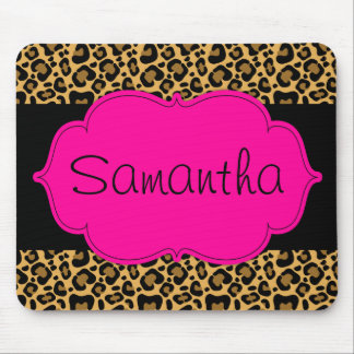 Hot Pink and Black Leopard Personalized Mouse Pad