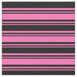 [ Thumbnail: Hot Pink and Black Lined/Striped Pattern Fabric ]