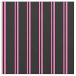 [ Thumbnail: Hot Pink and Black Lines/Stripes Pattern Fabric ]