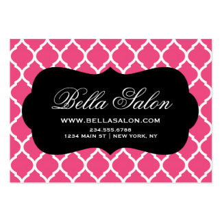 Hot Pink and Black Modern Moroccan Lattice Large Business Cards (Pack Of 100)
