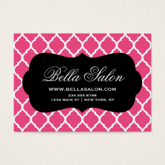 Hot Pink and Black Modern Moroccan Lattice Business Card