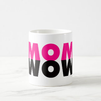 Hot Pink and Black MOM WOW Mug