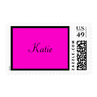 hot pink and black name stamp
