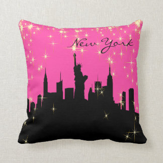 Hot Pink and Black New York Skyline Pillow
