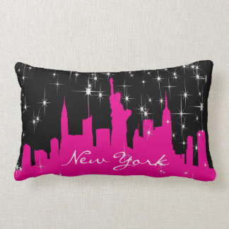 Hot Pink and Black New York Starry Skyline Lumbar Pillow