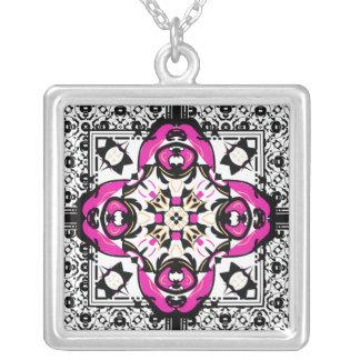 Hot Pink and Black Oriental Damask Symbol Square Pendant Necklace