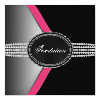 Hot Pink and Black Party Custom Invites