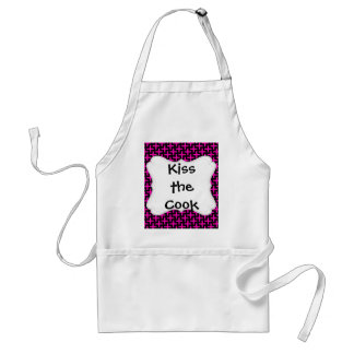 Hot Pink and Black Pattern Crosses Plus Signs Adult Apron