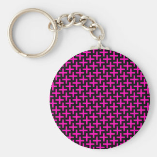 Hot Pink and Black Pattern Crosses Plus Signs Basic Round Button Keychain