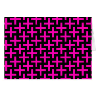 Hot Pink and Black Pattern Crosses Plus Signs Card