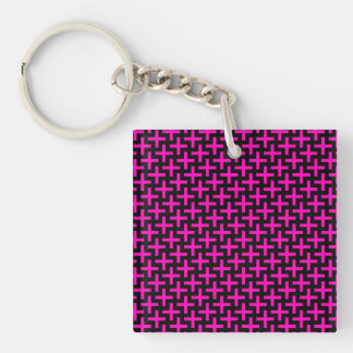 Hot Pink and Black Pattern Crosses Plus Signs Double-Sided Square Acrylic Keychain
