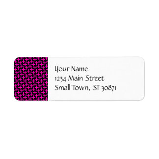 Hot Pink and Black Pattern Crosses Plus Signs Labels