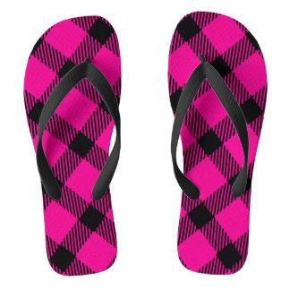 Hot Pink and Black Plaid Design Flip Flops