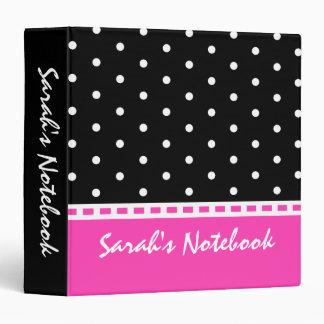 Hot Pink and Black Polka Dot Girl's Back to School Vinyl Binder