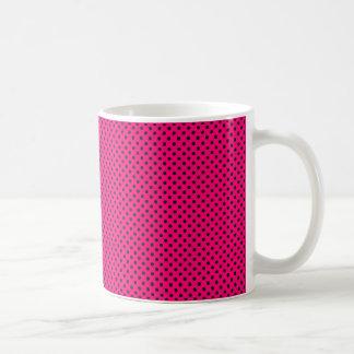 Hot Pink and Black Polka Dot Pattern Coffee Mug