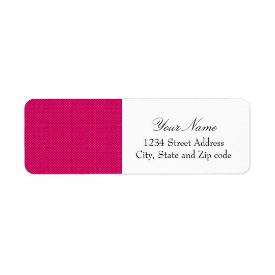 Hot Pink and Black Polka Dot Pattern Label