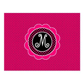Hot Pink and Black Polka Dot Pattern with Monogram Postcard