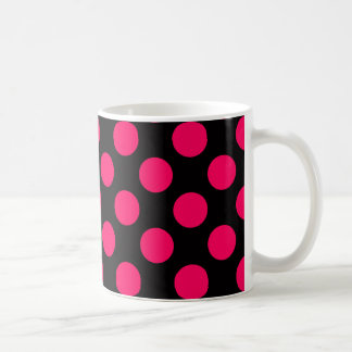 Hot Pink and Black Polka Dots Pattern Coffee Mug